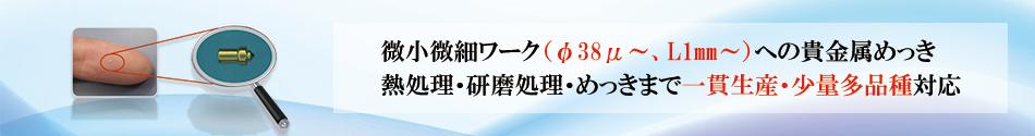 微小微細ワーク(φ38μ~、L1㎜~)への貴金属めっき